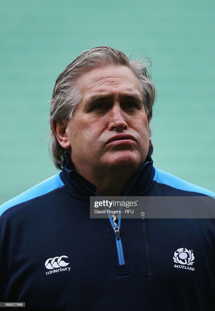 Scotland interim head coach Scott Johnson looks on prior to the RBS Six Nations match between England and Scotland at Twickenham Stadium on February 2, 2013 in London, England.