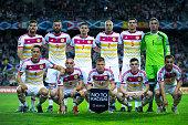 Scotland line up prior to start the UEFA EURO 2016 Qualifying round Group G match between Gibraltar and Scotland at Estadio Algarve on October 11...