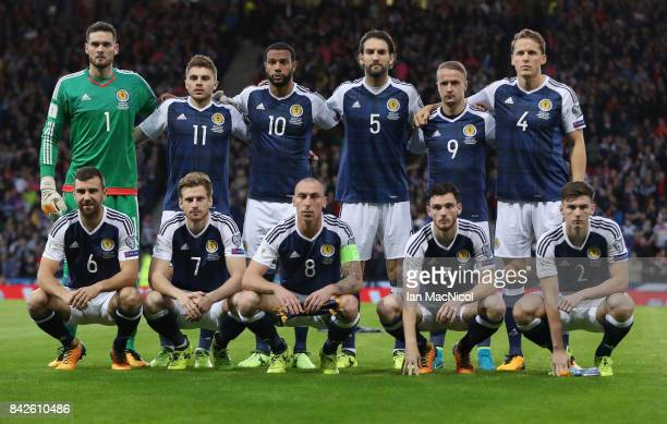 Scotland line up prior to the FIFA 2018 World Cup Qualifier between Scotland and Malta at Hampden Park on September 4 2017 in Glasgow Scotland