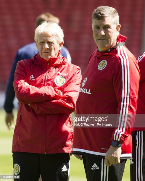 Scotland manager Gordon Strachan and assistant Mark McGhee during the training session at Hampden Park Glasgow