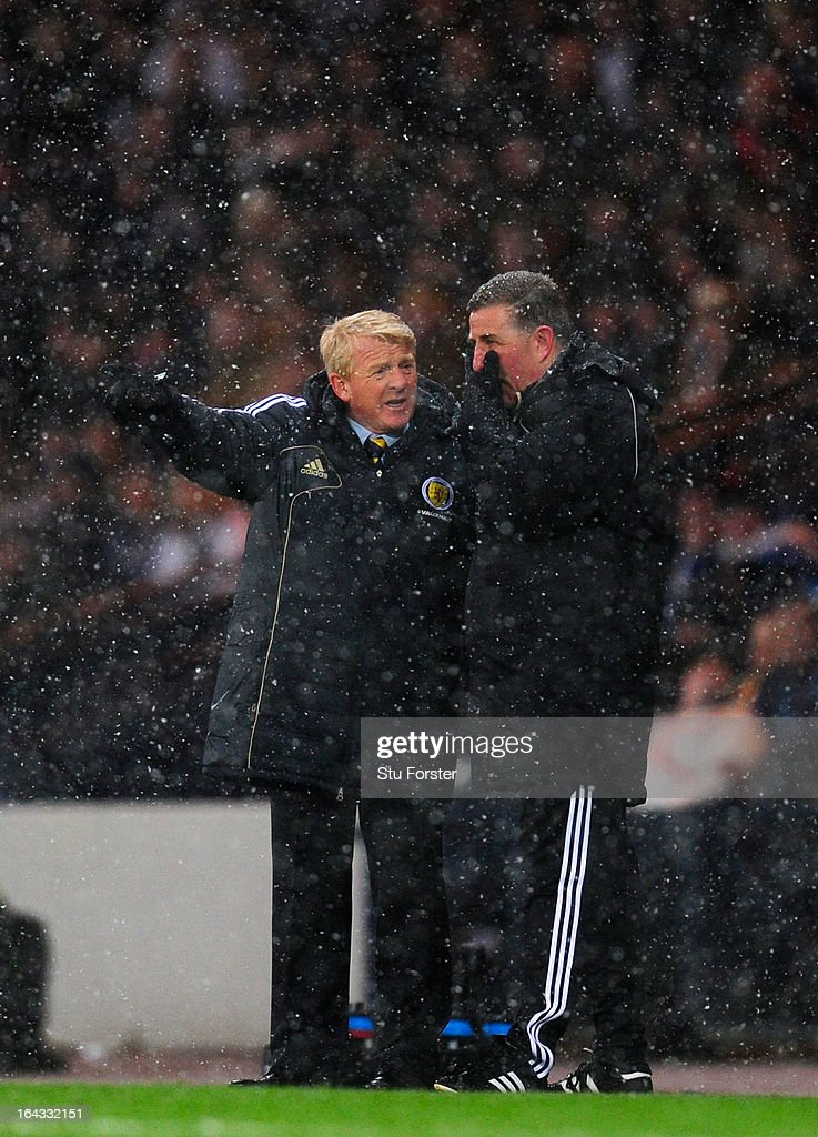 Scotland manager Gordon Strachan and assistant Mark McGhee look on during the FIFA 2014 World Cup Group A Qualifier match between Scotland and Wales...