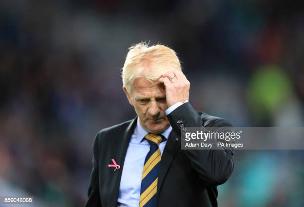 Scotland manager Gordon Strachan appears dejected after the final whistle during the 2018 FIFA World Cup Qualifying Group F match at Stadion Stozice...