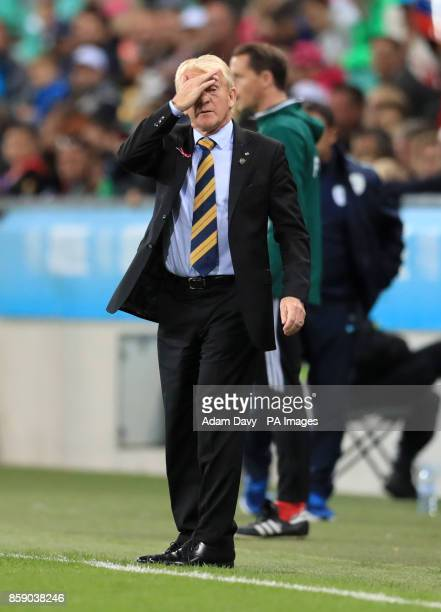 Scotland manager Gordon Strachan gestures on the touchline during the 2018 FIFA World Cup Qualifying Group F match at Stadion Stozice Ljubljana