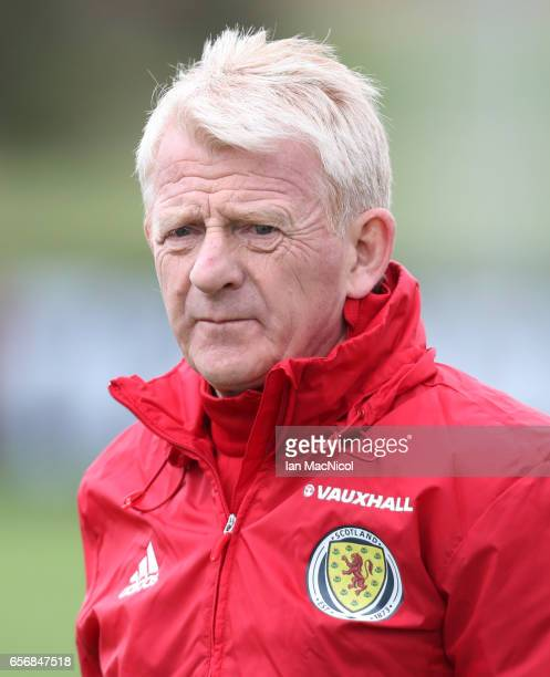 Scotland manager Gordon Strachan is seen during a training session at Mar Hall on March 23 2017 in Erskine Scotland