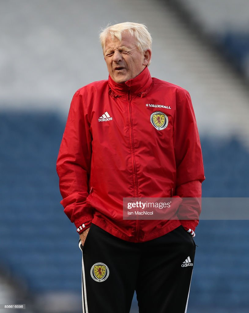 Scotland manager Gordon Strachan is seen during a training session ahead of the FIFA 2018 World Cup Qualifier against Slovakia at Hampden Park on October 2, 2017 in Glasgow, Scotland.