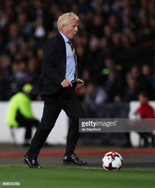 Scotland Manager Gordon Strachan is seen during the FIFA 2018 World Cup Qualifier between Scotland and Slovakia at Hampden Park on October 5 2017 in...