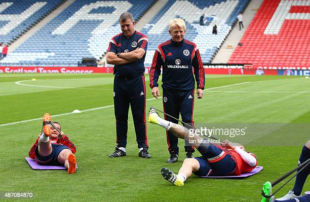 Scotland manager Gordon Strachan looks on during a training session ahead of their UEFA Euro 2016 qualifier against Germany at Hampden Park on...