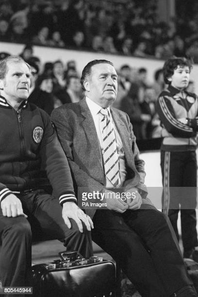 Scotland Manager Jock Stein sat with Scotland physiotherapist Hugh Allan