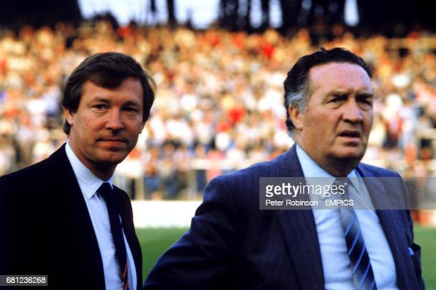 Scotland manager Jock Stein with his assistant Alex Ferguson just prior to Stein's death