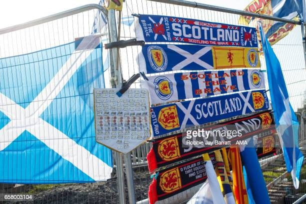 Scotland memorabilia for sale prior to the FIFA 2018 World Cup Qualifier between Scotland and Slovenia at Hampden Park on March 26 2017 in Glasgow...
