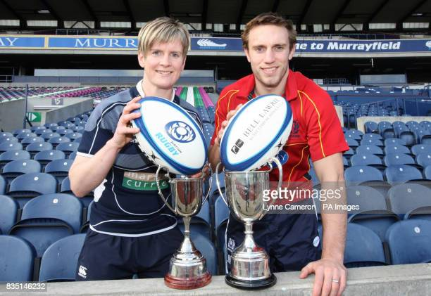 Scotland Men's Rugby Captain Mike Blair and Scotland Ladies Rubgy Captain Lynne Reid during the photocall at Murrayfield Edinburgh
