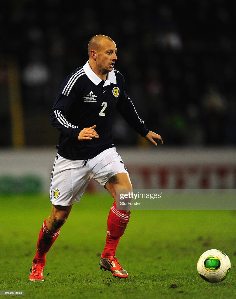 Scotland player Alan Hutton in action during the International Friendly match between Scotland and Estonia at Pittodrie Stadium on February 6, 2013 in Aberdeen, Scotland.