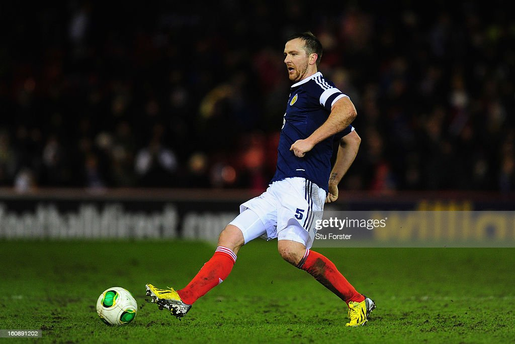 Scotland player Andy Webster in action during the International Friendly match between Scotland and Estonia at Pittodrie Stadium on February 6, 2013 in Aberdeen, Scotland.