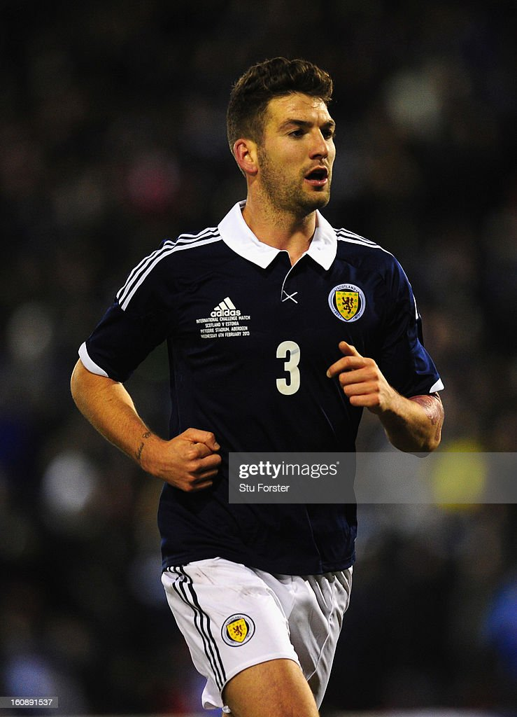 Scotland player Charlie Mulgrew in action during the International Friendly match between Scotland and Estonia at Pittodrie Stadium on February 6, 2013 in Aberdeen, Scotland.