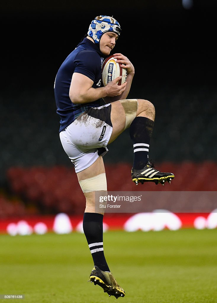 Scotland player <a gi-track='captionPersonalityLinkClicked' href=/galleries/search?phrase=David+Denton+-+Rugby+Player&family=editorial&specificpeople=12197244 ng-click='$event.stopPropagation()'>David Denton</a> in action during the Scotland Captains run ahead of their RBS Six Nations match against Wales at Principality Stadium on February 12, 2016 in Cardiff, Wales.