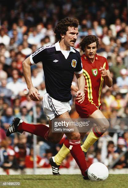 Scotland player Graeme Souness on the ball during a British Championships match between Wales and Scotland at Ninian Park on May 19 1979 in Cardiff...