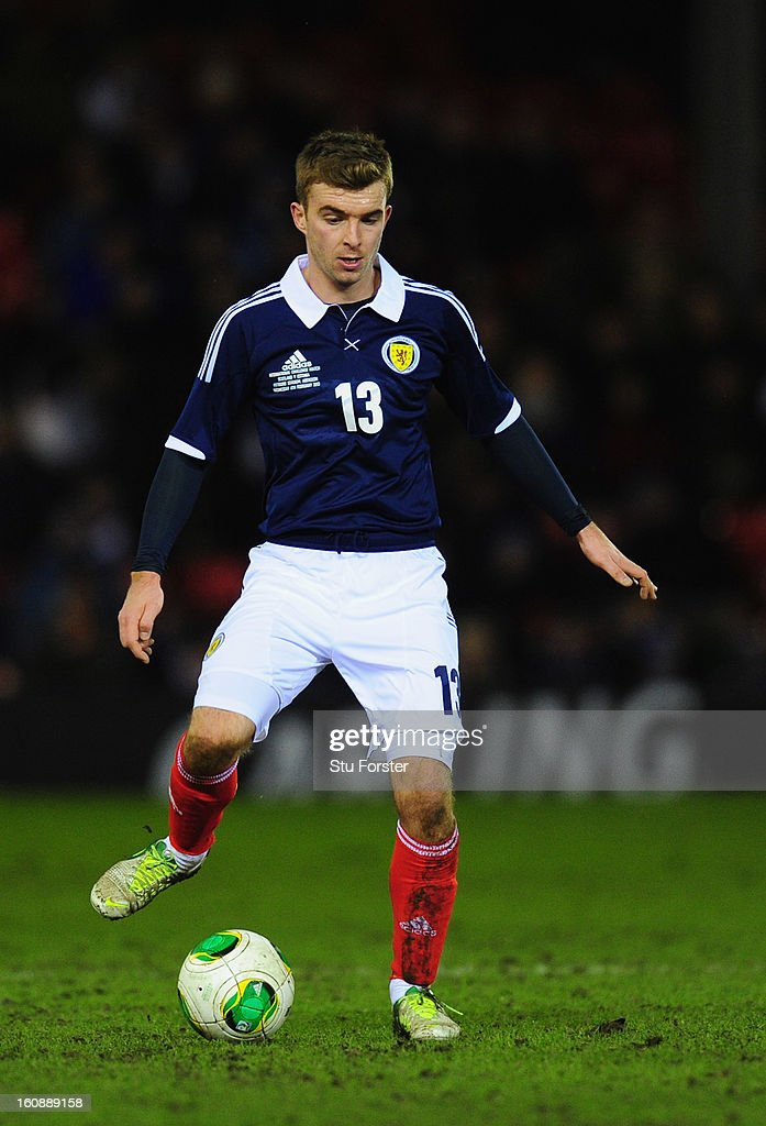 Scotland player James Morrison in action during the International Friendly match between Scotland and Estonia at Pittodrie Stadium on February 6, 2013 in Aberdeen, Scotland.