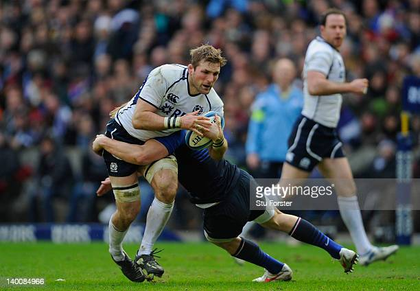 Scotland player John Barclay in action during the RBS Six Nations match between Scotland and France at Murrayfield Stadium on February 26 2012 in...