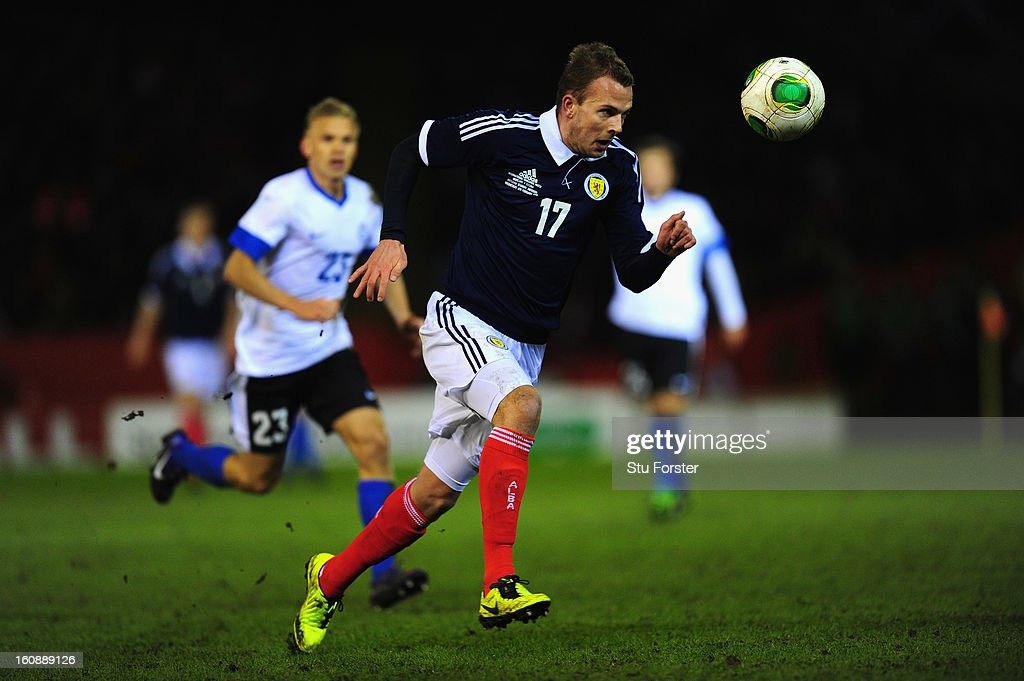 Scotland player Jordan Rhodes in action during the International Friendly match between Scotland and Estonia at Pittodrie Stadium on February 6, 2013 in Aberdeen, Scotland.