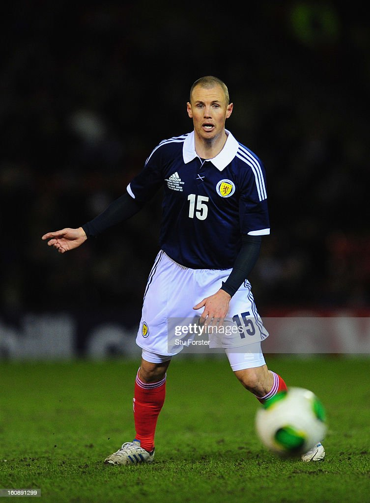 Scotland player Kenny Miller in action during the International Friendly match between Scotland and Estonia at Pittodrie Stadium on February 6, 2013 in Aberdeen, Scotland.