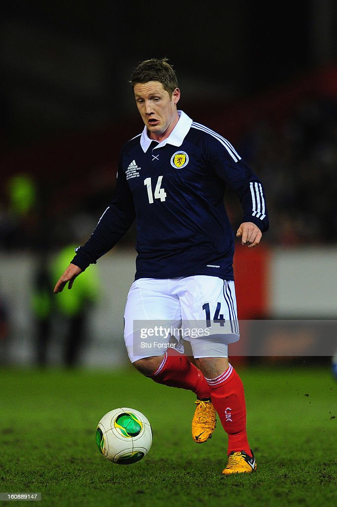 Scotland player Kris Commons in action during the International Friendly match between Scotland and Estonia at Pittodrie Stadium on February 6, 2013 in Aberdeen, Scotland.
