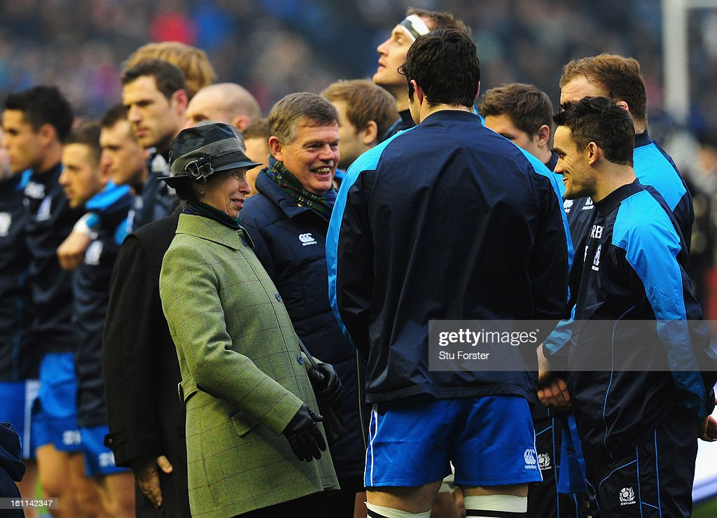 Scotland player Max Evans (r) shares a joke with HRH Pincess Anne before the RBS Six Nations match between Scotland and Italy at Murrayfield Stadium in Scotland, United Kingdom