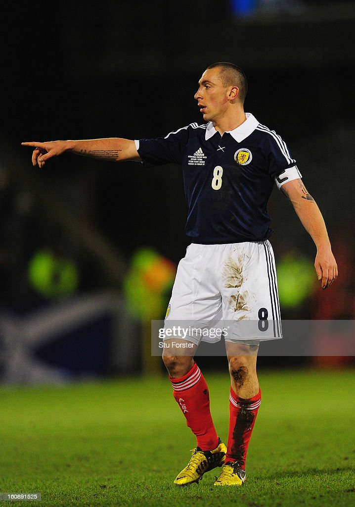 Scotland player Scott Brown in action during the International Friendly match between Scotland and Estonia at Pittodrie Stadium on February 6, 2013 in Aberdeen, Scotland.