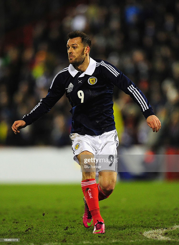 Scotland player Steven Fletcher in action during the International Friendly match between Scotland and Estonia at Pittodrie Stadium on February 6, 2013 in Aberdeen, Scotland.