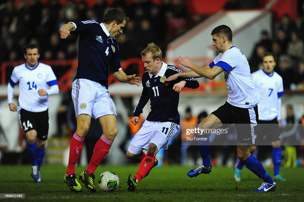 Scotland player <a gi-track='captionPersonalityLinkClicked' href=/galleries/search?phrase=Steven+Naismith&family=editorial&specificpeople=4130861 ng-click='$event.stopPropagation()'>Steven Naismith</a> (c) cannot find a way through the Estonia defence during the International Friendly match between Scotland and Estonia at Pittodrie Stadium on February 6, 2013 in Aberdeen, Scotland.