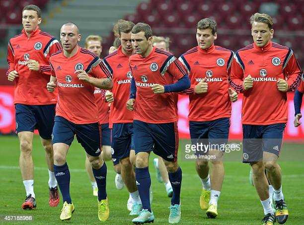 Scotland players during the Scotland national soccer team training session at the National Stadium on October 13 2014 in Warsaw Poland