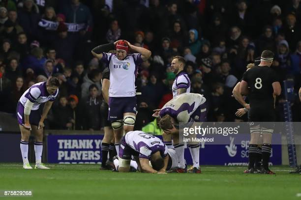 Scotland players react at full time during the International test match between Scotland and New Zealand at Murrayfield Stadium on November 18 2017...