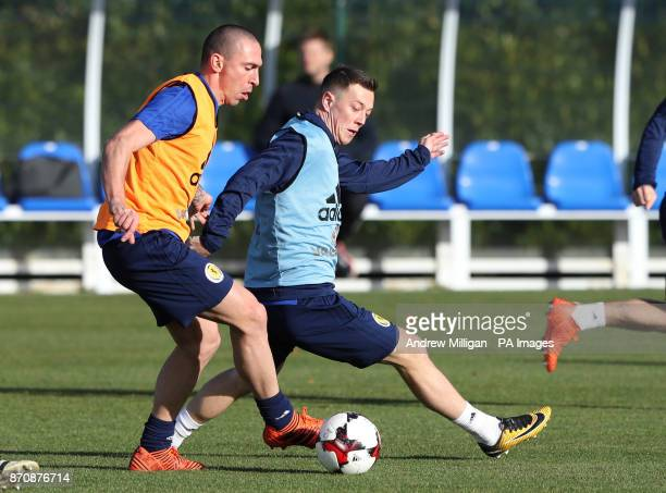 Scotland players Scott Brown and Callum McGregor during the training session at Heriot Watt University Oriam