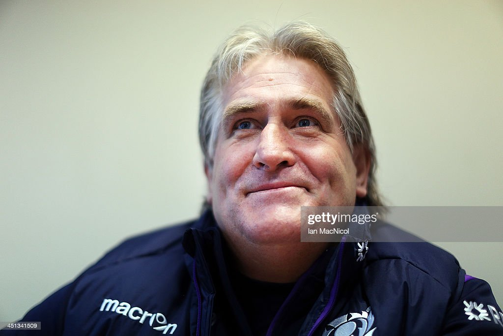 Scotland Rugby Union head Coach <a gi-track='captionPersonalityLinkClicked' href=/galleries/search?phrase=Scott+Johnson&family=editorial&specificpeople=586938 ng-click='$event.stopPropagation()'>Scott Johnson</a> talks at a press conference prior to their Test Match against Australia at Murrayfield stadium on November 23, 2013 in Edinburgh, Scotland.