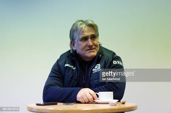 Scotland Rugby Union head Coach Scott Johnson talks at a press conference prior to their Test Match against Australia at Murrayfield stadium on...
