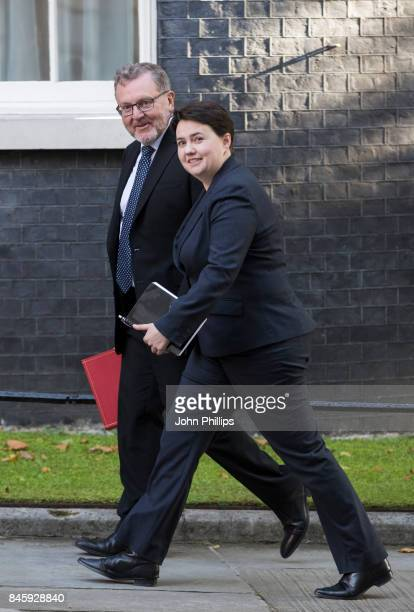 Scotland Secretary David Mundell and Scottish Conservative Leader Ruth Davidson arrive at Downing Street for the weekly cabinet meeting at 10 Downing...