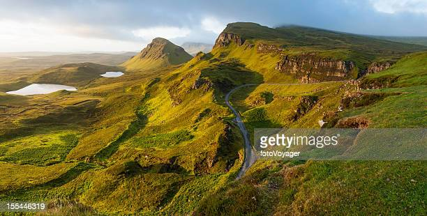 Scotland sunrise on mountain pinnacles Quiriang Skye