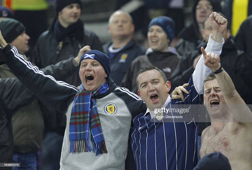 Scotland supporters sing during the FIFA 2014 World Cup Qualifier between Serbia and Scotland at Karadjordje Stadium on March 26, 2013 in Novi Sad, Serbia.
