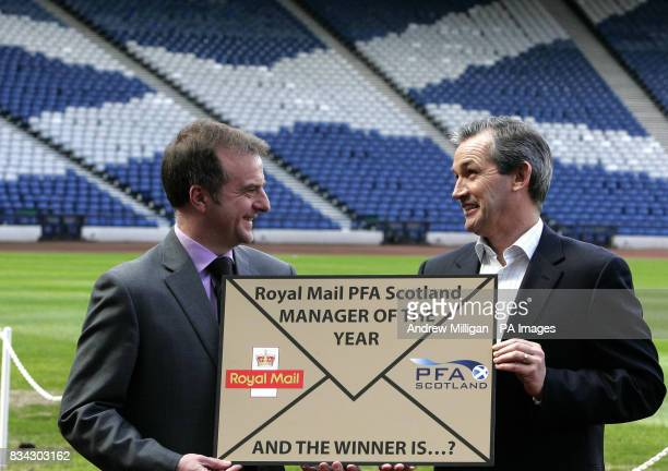 Scotland team boss George Burley launches the Royal Mail PFA Scotland award for Scotland's Manager of The Year 2008 with with PFA 's Fraser Wishart...