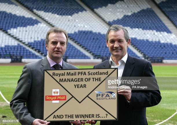 Scotland team boss George Burley launches the Royal Mail PFA Scotland award for Scotland's Manager of The Year 2008 with PFA's chief executive Fraser...