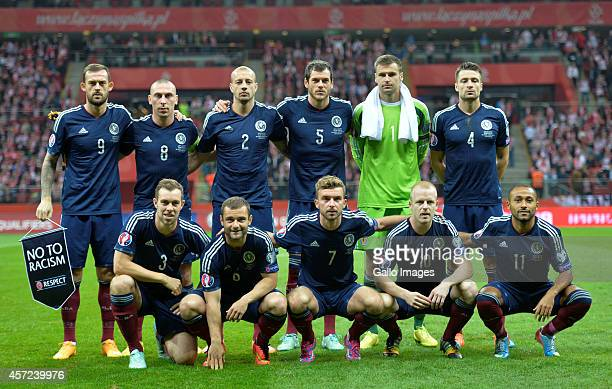Scotland team during the UEFA Euro 2016 Qualifying Round match between Poland and Scotland at the National Stadium on October 14 2014 in Warsaw Poland