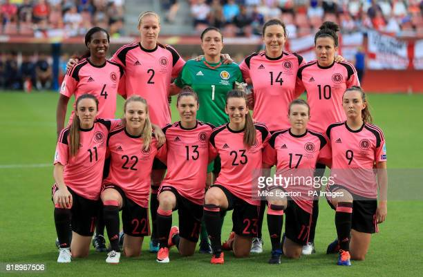 Scotland team group picture Top row Ifeoma Dieke Vaila Barsley Gemma Fay Rachel Corsie and Leanne Crichton Bottom row Lisa Evans Fiona Brown Jane...