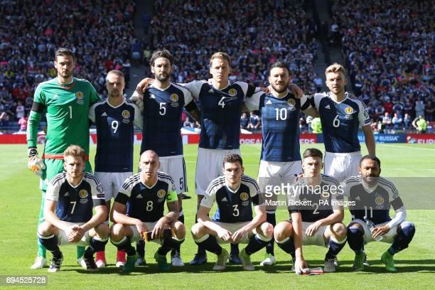 Scotland Team Group Scotland's Craig Gordon Leigh Griffiths Charlie Mulgrew Christophe Berra Robert Snodgrass and James Morrison Scotland's Stuart...