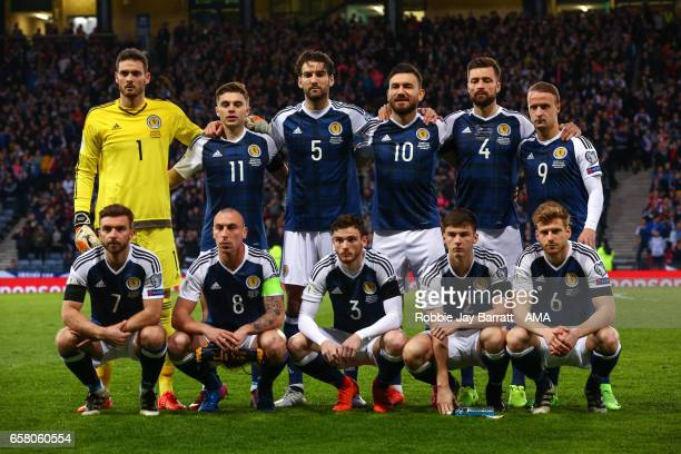 Scotland team photo during the FIFA 2018 World Cup Qualifier between Scotland and Slovenia at Hampden Park on March 26 2017 in Glasgow Scotland