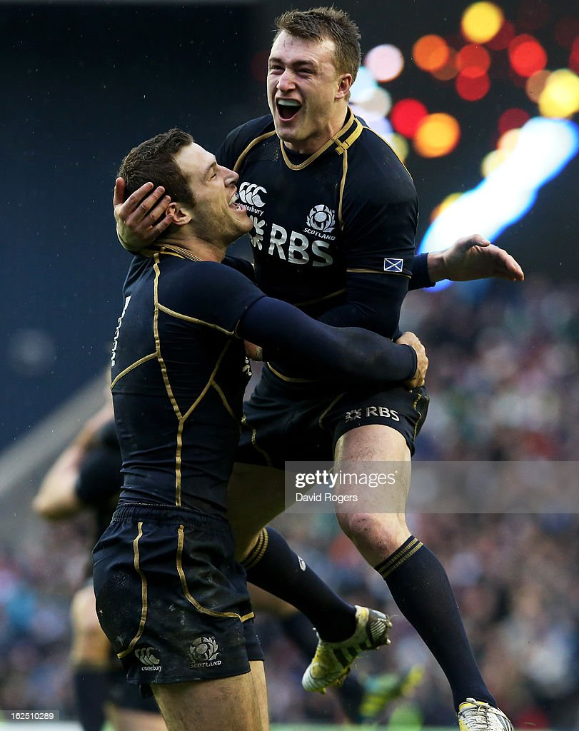 Scotland teammates Tim Visser (L) and Stuart Hogg celebrate their team's victory as the final whistle blows during the RBS Six Nations match between Scotland and Ireland at Murrayfield Stadium on February 24, 2013 in Edinburgh, Scotland.