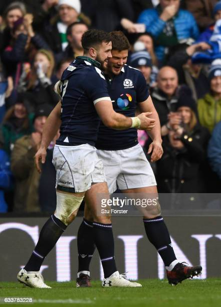 Scotland try scorer Alex Dunbar is congratulated by Ross Ford after his try during the RBS Six Nations match between Scotland and Ireland at...