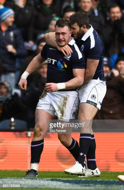 Scotland Try scorer Stuart Hogg celebrates after scoring the first try the RBS Six Nations match between Scotland and Ireland at Murrayfield Stadium...