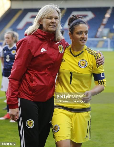 Scotland Women Head Coach Anna Signeul with Gemma Fay after the International Challenge match at Stark's Park Kirkcaldy
