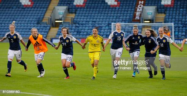 Scotland Women with Gemma Fay celebrate victory over Republic of Ireland Women after the International Challenge match at Stark's Park Kirkcaldy