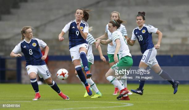 Scotland Women's Caroline Weir and Republic of Ireland Women's Karen Duggan battle for the ball during the International Challenge match at Stark's...