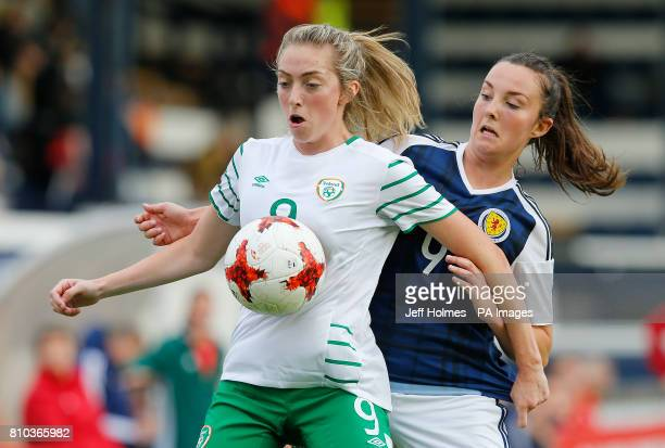 Scotland Women's Caroline Weir and Republic of Ireland Women's Megan Connolly battle for the ball during the International Challenge match at Stark's...